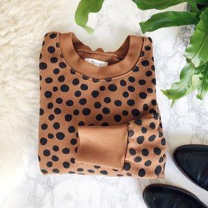 Madewell pleat-sleeve sweatshirt in leopard